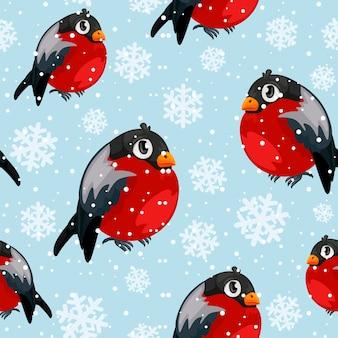 Padrão sem emenda de pássaros dom-fafe com queda de neve. fundo de coleção de feliz natal. textura de inverno. ilustração vetorial. dom-fafe e neve em camadas separadas.