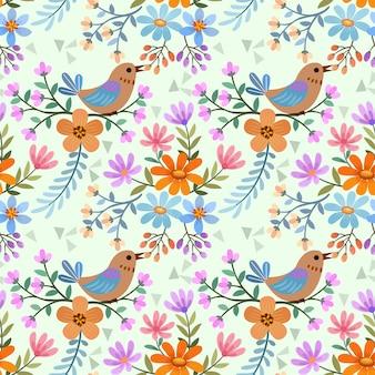 Padrão sem emenda de pássaros e flores