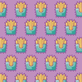 Padrão sem emenda de patches de deliciosas batatas fritas