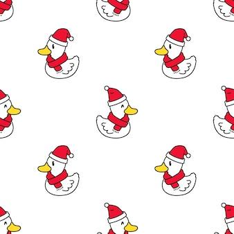 Padrão sem emenda de pato desenho animado de chapéu de papai noel natal