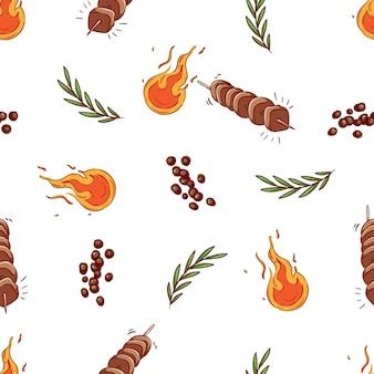 Padrão sem emenda de pedaços de carne assada no espeto e ervas com estilo doodle