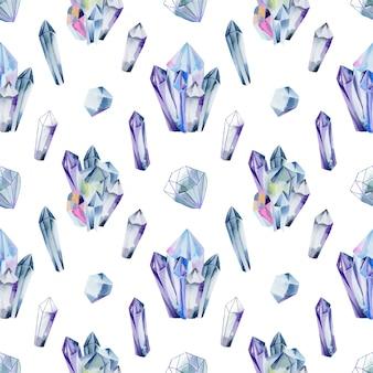 Padrão sem emenda de pedras preciosas em aquarela e cristais