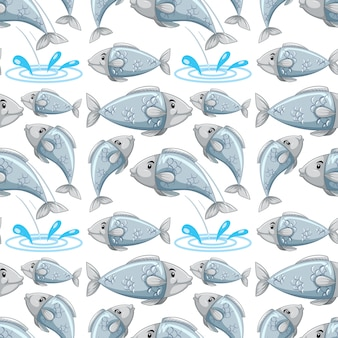 Padrão sem emenda de peixe dos desenhos animados