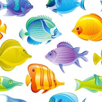 Padrão sem emenda de peixe. fundo do mar tropical. conjunto de oceano em aquarela. design animal subaquático. o recife de coral pesca ilustração bonito dos desenhos animados. impressão marinha de verão.