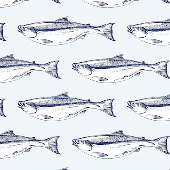 Padrão sem emenda de peixe salmão