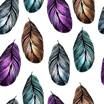 Padrão sem emenda de penas coloridas de mão desenhada fundo com azulejos de vetor