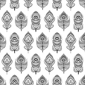 Padrão sem emenda de penas de mandala preto e branco para impressão