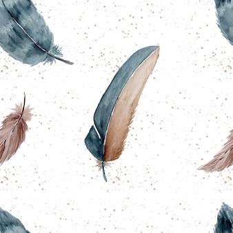 Padrão sem emenda de penas elegantes abstratas em aquarela
