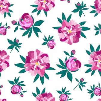 Padrão sem emenda de peônias para impressão em tecido, papel de parede, plano de fundo para o dia das mães, até o dia 8 de março, para o design de cartões de casamento