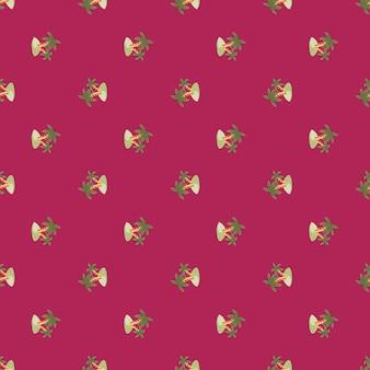 Padrão sem emenda de pequenas ilhas verdes e elementos de palmeira. fundo rosa brilhante. ornamento do doodle. projetado para design de tecido, impressão têxtil, embalagem, capa. ilustração vetorial.