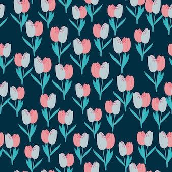Padrão sem emenda de pequenas silhuetas de tulipa. fundo azul marinho com flores rosa e azuis.