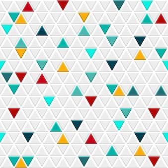 Padrão sem emenda de pequenos triângulos em cores cinza com alguns triângulos coloridos