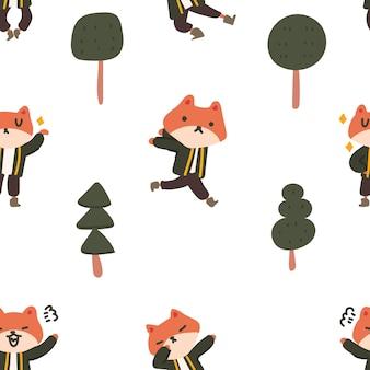 Padrão sem emenda de personagem de raposa colorida