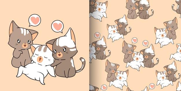 Padrão sem emenda de personagens de gato fofo