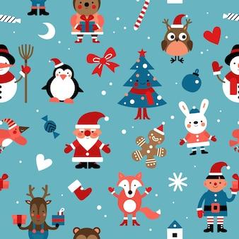 Padrão sem emenda de personagens de natal. papai noel, boneco de gengibre e coelho, elfo e veado, raposa.