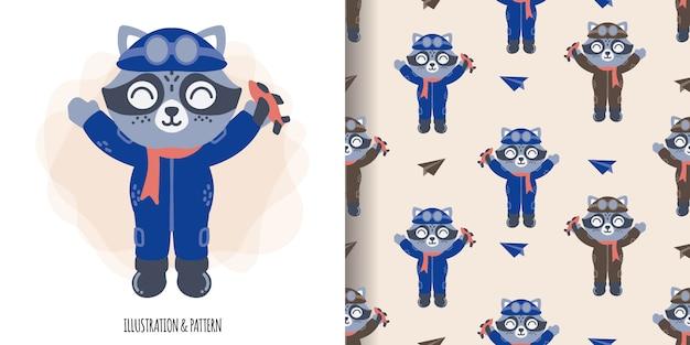 Padrão sem emenda de piloto animal bonito com cartão de chuveiro de bebê de ilustração dos desenhos animados
