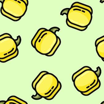 Padrão sem emenda de pimentão doce estilo plano bonito dos desenhos animados
