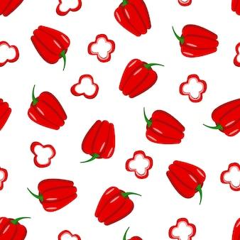 Padrão sem emenda de pimentão vermelho. ilustração em vetor de vegetais.