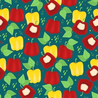 Padrão sem emenda de pimentões vermelhos e amarelos vitaminas úteis para vegetais impressão vetorial