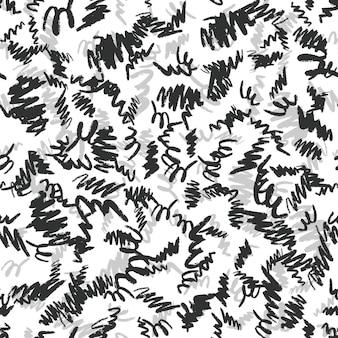 Padrão sem emenda de pinceladas de mão desenhada. cenário de tinta preta e prata. ilustração vetorial