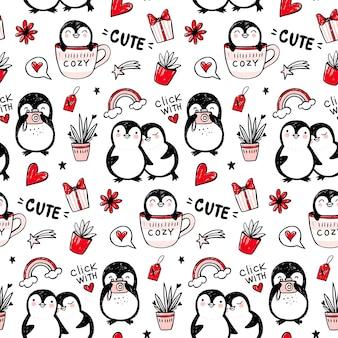 Padrão sem emenda de pinguim. fundo de animais engraçados. desenhos animados mão desenhada textura com personagens fofinhos. estilo doodle.
