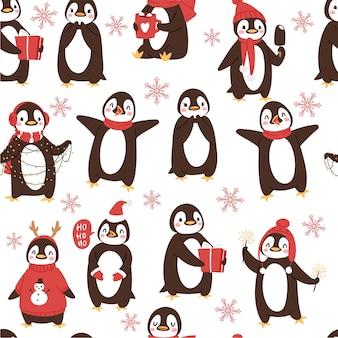 Padrão sem emenda de pinguins fofos com desenhos animados de férias de inverno e pássaros do ártico
