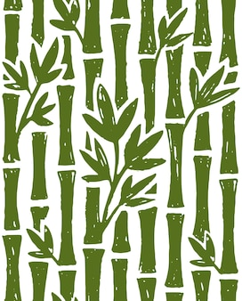 Padrão sem emenda de pintura a tinta de bambu em fundo branco