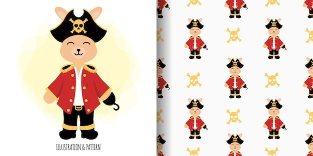Padrão sem emenda de piratas de coelhinho animal bonito com cartão de chuveiro de bebê de ilustração dos desenhos animados