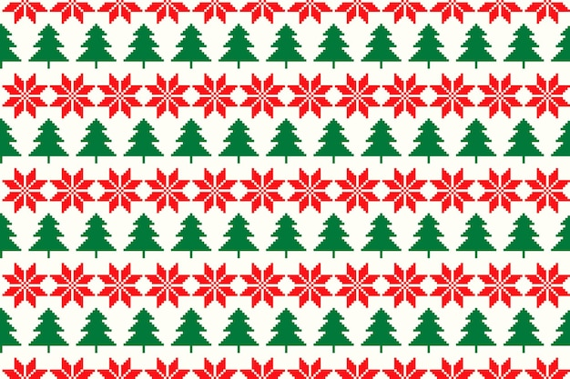 Padrão sem emenda de pixel de férias de inverno com árvore de natal e enfeite de estrela de natal argyle