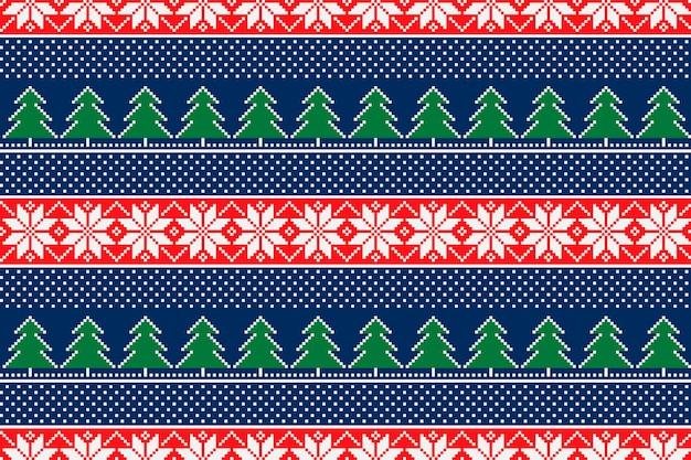 Padrão sem emenda de pixel de férias de inverno com árvore de natal e enfeite de estrela de natal