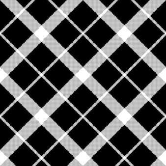 Padrão sem emenda de pixel monocromático clássico tartan