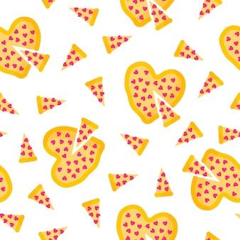 Padrão sem emenda de pizza em forma de coração para o casamento ou dia dos namorados.
