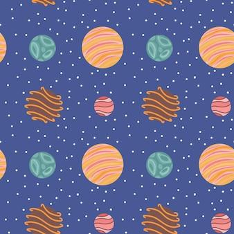 Padrão sem emenda de planetas de fantasia. plano de fundo do universo. ilustração vetorial.
