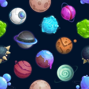 Padrão sem emenda de planetas e estrelas do espaço dos desenhos animados, fundo de galáxia de vetor. planetas espaciais de fantasia com planetas alienígenas de gelo ou fogo, nave espacial ovni e fantásticos padrões de satélites extraterrestres