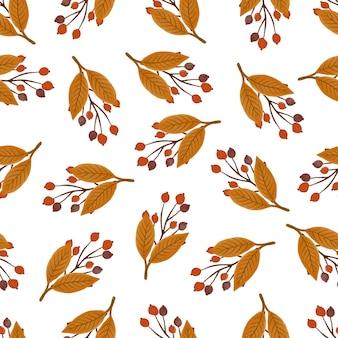 Padrão sem emenda de planta de outono para design de tecido e plano de fundo