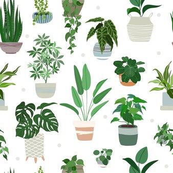 Padrão sem emenda de plantas de interior