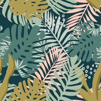 Padrão sem emenda de plantas tropicais e abstração em um escuro