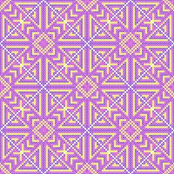 Padrão sem emenda de ponto cruz. fundo de bordado. ornamento de costura. imagem roxa brilhante. padrões geométricos. ilustração vetorial.