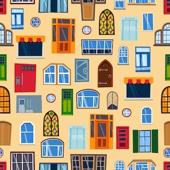 Padrão sem emenda de portas colorido entrada de casa fechada