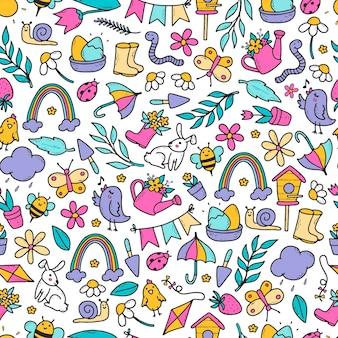 Padrão sem emenda de primavera com rabiscos desenhados à mão