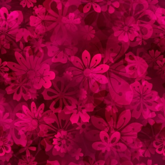Padrão sem emenda de primavera de várias flores em cores carmesim