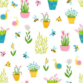 Padrão sem emenda de primavera em estilo cartoon simples desenhado à mão.