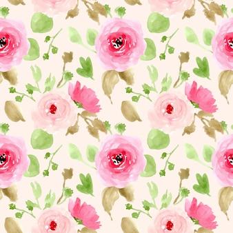 Padrão sem emenda de primavera floral rosa aquarela