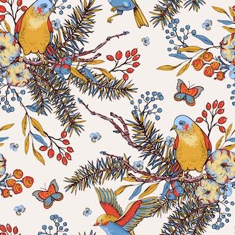 Padrão sem emenda de primavera floral vintage com pássaros, ramos de abeto, algodão, flores e borboletas