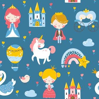 Padrão sem emenda de princesa com castelo de cisne príncipe unicórnio e arco-íris