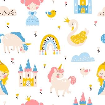 Padrão sem emenda de princesa com castelo de cisne unicórnio e ilustração de arco-íris de uma garota