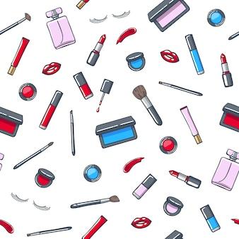 Padrão sem emenda de produtos de cosméticos maquiagem.