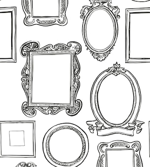 Padrão sem emenda de quadros rococó. papel de parede preto e branco