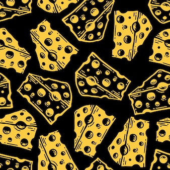 Padrão sem emenda de queijo em estilo vintage doodle.