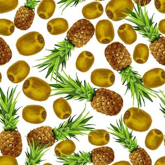 Padrão sem emenda de quivi de abacaxi
